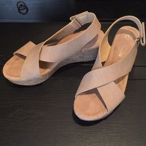 Shoes - Beige, summer wedge